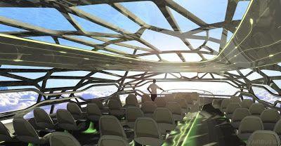 O conceito de cabine que a Airbus imagina para o ano 2050 tem um teto transparente que permitiria ao passageiro admirar a vista durante o voo, assentos ergonômicos e um espaço de realidade virtual no qual o viajante poderia jogar golfe e até fazer compras.