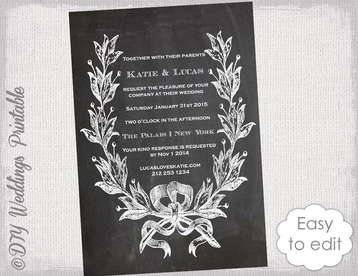 "Chalkboard Wedding invitation printable ""Vintage Wreath"" DIY wedding invitations black wedding invites Editable Word /Jpg digital Download by diyweddingsprintable on Etsy https://www.etsy.com/uk/listing/220907128/chalkboard-wedding-invitation-printable"