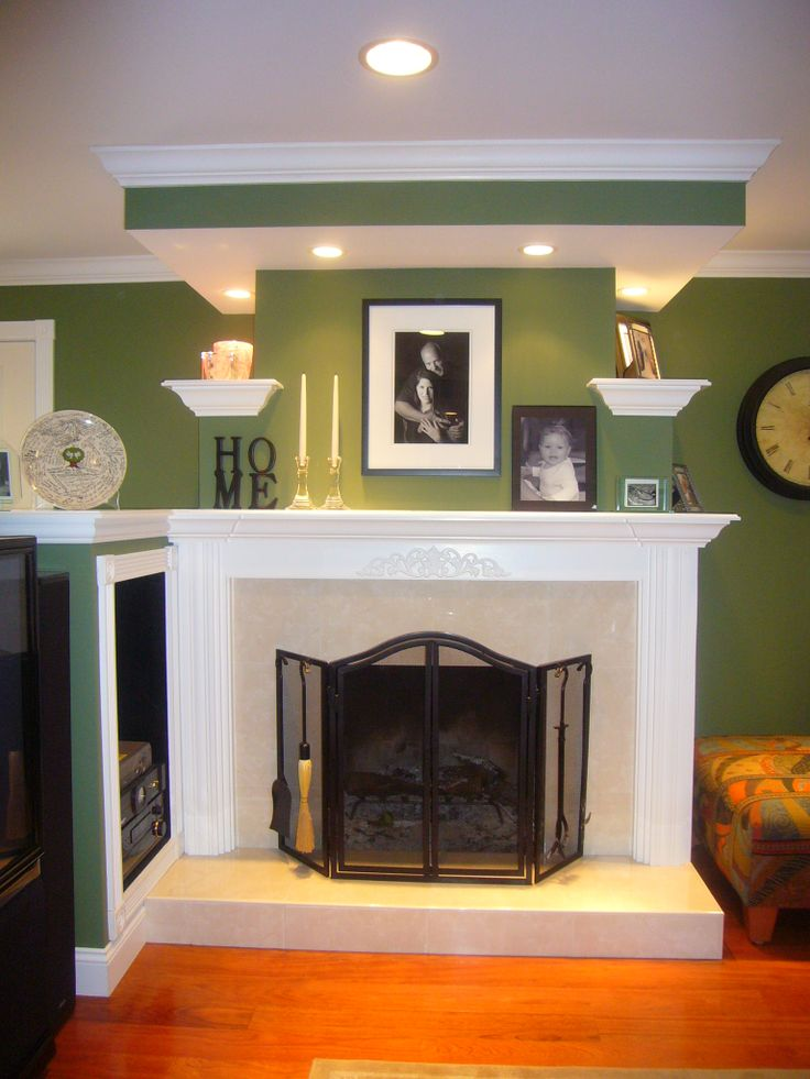 Brick Fireplace makeover.......surprised how pretty this color is