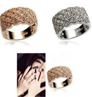 Women Wedding Engagement Ring Crystal Rhinestone White Gold Plated Rings Jewelry