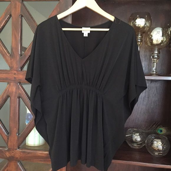 Worthington Long Black Batwing Top Great long black top. Gathered under bust with batwing sleeves for a forgiving and flattering fit. EUC! Would also work for a large.  Worthington Tops Tunics