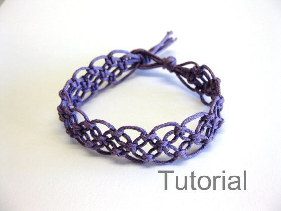 Lacy macrame bracelet pattern tutorial pdf purple step by step knot instructions how to makrame tuto jewellery beginner handmade diy tuto