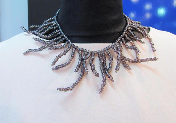 Bib collar necklace with branches. Inspired by ideas by Brunello Cucinelli