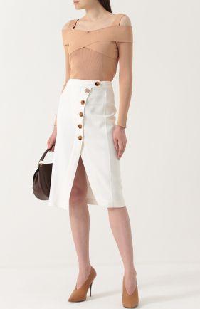 Женская кремовая юбка-миди с высокими разрезами Khaite, сезон SS 2017, арт. 4006400101/W400 купить в ЦУМ   Фото №1