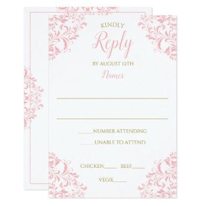 Elegant Reply Card - Nadine (Pink & Gold) - invitations custom unique diy personalize occasions