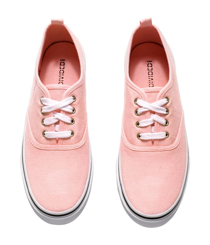 think pink cotton canvas lace up sneakers with rubber