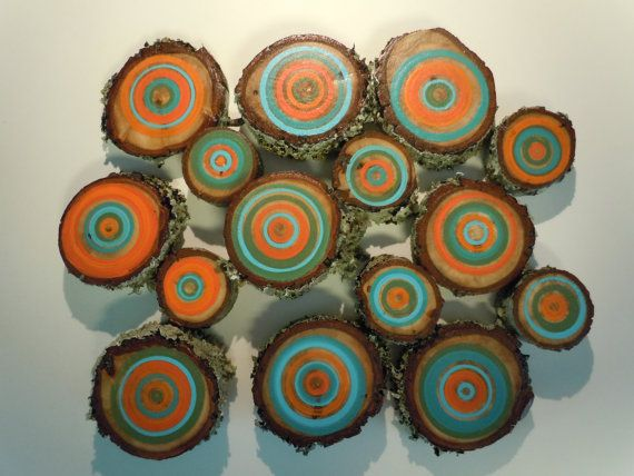 15 Painted Wood Slices Tree Branch Art Tree by NestsAndBurrows, $120.00