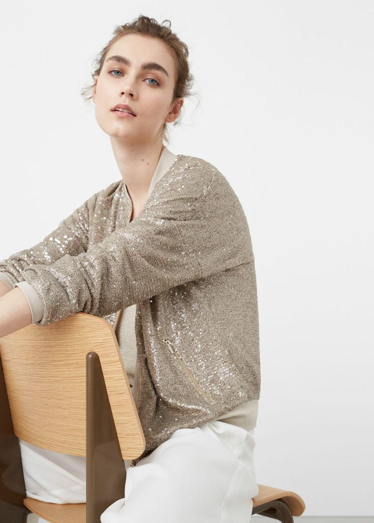 Sequined bomber - Jackets for Woman   MANGO USA