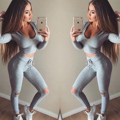 Women 2pcs Tracksuit Hoodies  Sweatshirt Pants Sets  Wear Casual Suit slim sexy outfits 2016