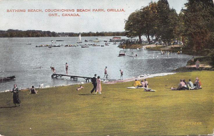 Bathing Beach Couchiching Beach Park Orillia Ontario Canada 1930 40s Postcard | eBay