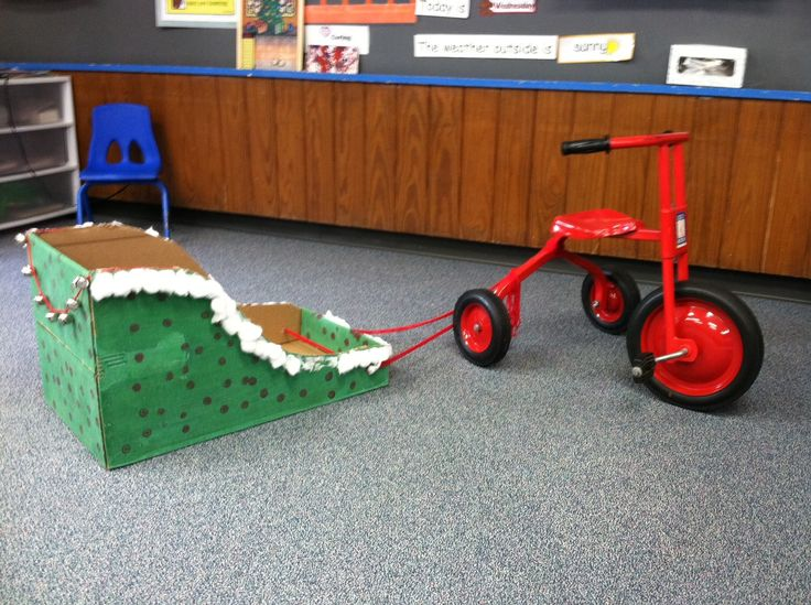 Dashing through the school in a One-trike open sleigh.... DIY sleigh from a cardboard box!...yep I thought of that myself!