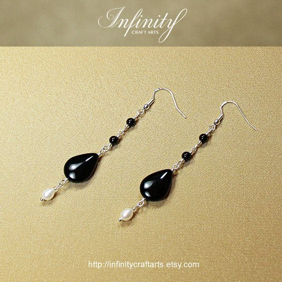 #Gemstone #Black #Onyx #earrings #Freshwater #Pearl by #InfinityCraftArts https://www.etsy.com/ca/listing/239063592/gemstone-black-onyx-earrings-freshwater?ref=shop_home_active_1