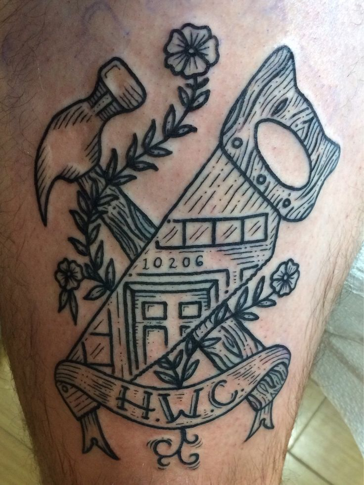 Hammer & Saw by Kyler Martz, Jackson Street Tattoo Co., Seattle, WA