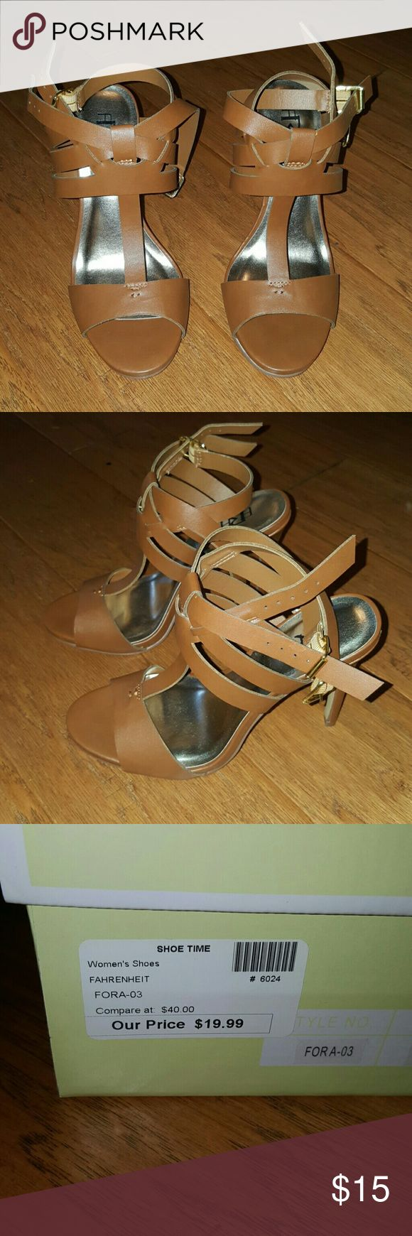 Brown strappy high heels Cute brown strappy 4 inch high heels. Great condition. Nice with jeans or dresses Shoes Heels