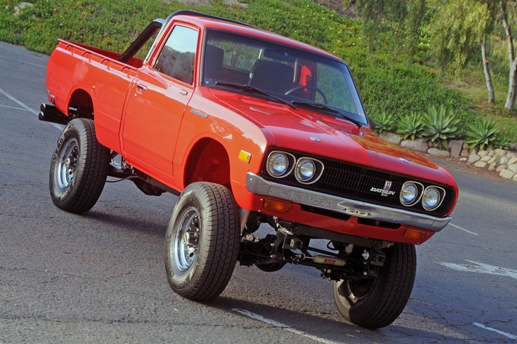 1975 Datsun 620 Pickup Truck  215 c.i. Buick all aluminium small block V8, fitted with Holley Projection electronic fuel injection, Dual transmission and transfer case, Hurst shifter, with a Dana 44 rear end and a Dana 30 front end.