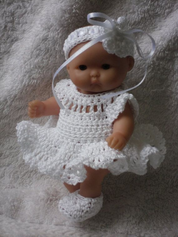 Crochet pattern for Berenguer 5 inch baby doll dress set
