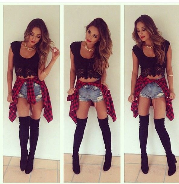 shoes thigh highs PLLW2G pretty little liars boots blouse black red dress jeans shorts High waisted shorts denim shorts crop tops lace leggings socks ripped shorts torn denim shorts