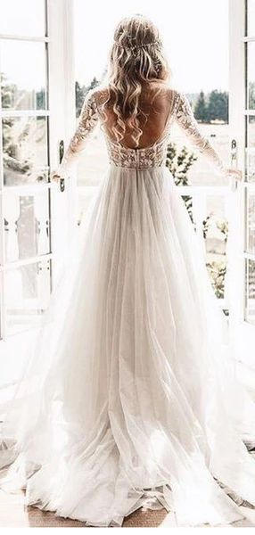 Lengthy Sleeves See By way of Low-cost Marriage ceremony Attire, Attractive Backless A-line Bridal Attire, WD435