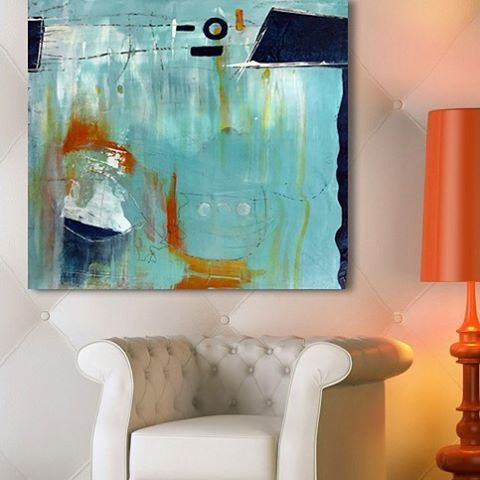 I adore using turquoise, navy, orange and white together in this abstract painting.  •• Lynette Melnyk Contemporary Fine Art •• FB/IG @lynettemelnykart