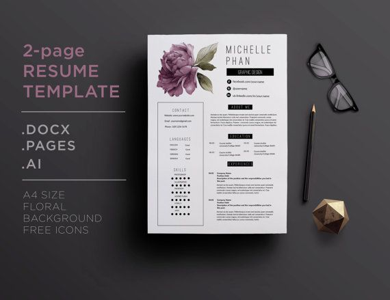 26 best floral cv    resume templates images on pinterest