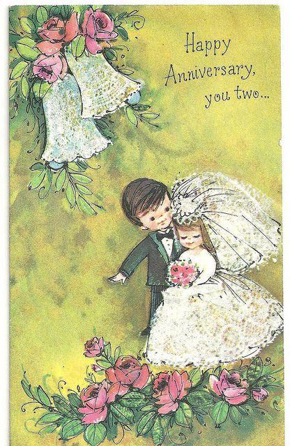 1st Wedding Anniversary Card, 1970. by cheryldecarteret, via Flickr