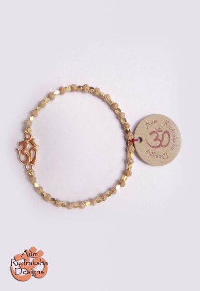 Rudrani bracelet with Gold Aum and Gold plated Sterling silver beads #aum #rudraksha #beads #bracelet #jewellery #gold #bali #silver