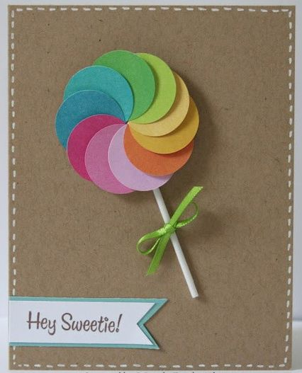 Circle punch lollipop DIY decoration : So cute, festive & simple.