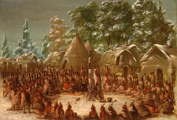 Rene-Robert Cavalier, Sieur de La Salle, being feasted in the Illinois village at Lake Peoria, 1680. (watercolor by George Catlin, 1847-48) The Council was followed by a great feast, Consisting of four dishes, which had to be partaken of in accordance with their fashions. (Jacques Marquette, 1674)