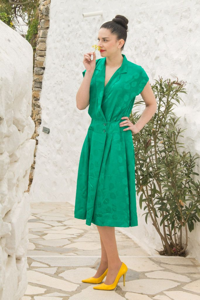 Cyclades beauty, Green Vintage Dress