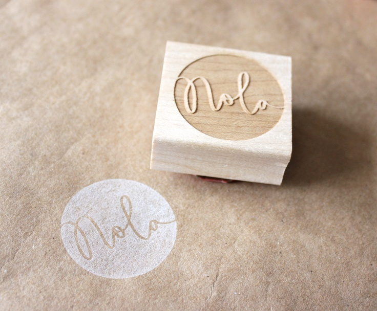 custom / personalized geometric wooden rubber stamp.