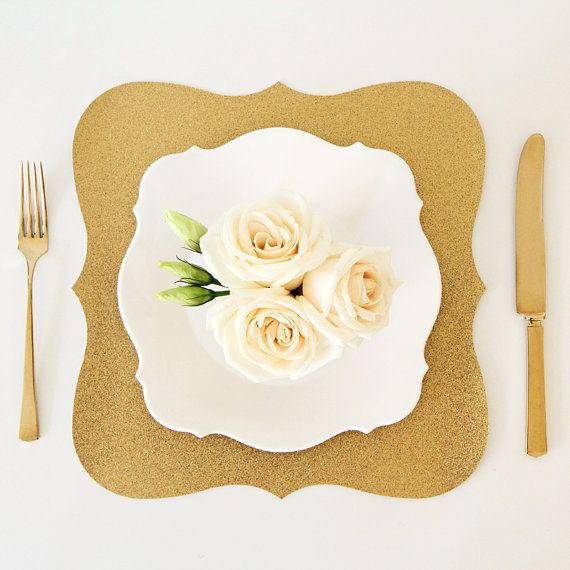 Gold Glitter Baroque Paper Placemats Pack of 10 by TableauParty