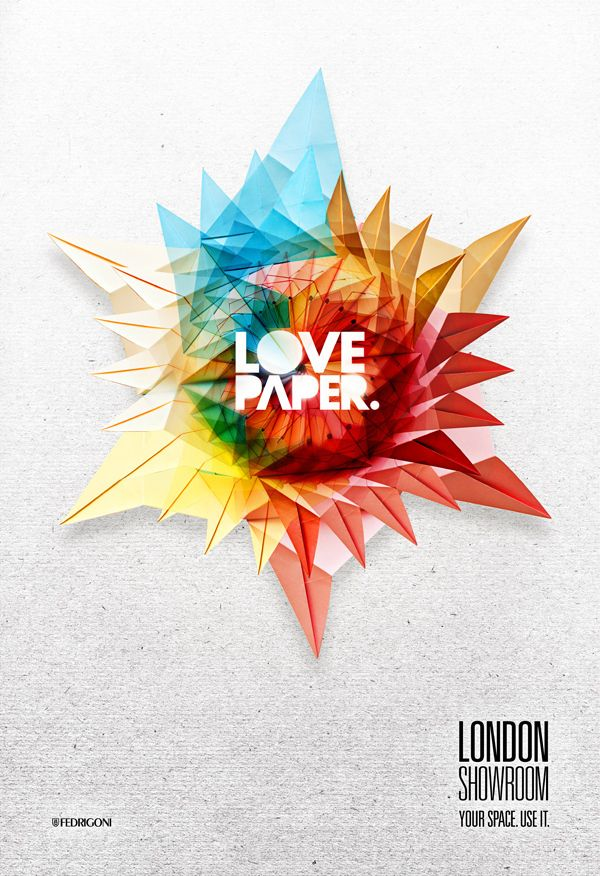 """Love paper"" graphic origami composition"
