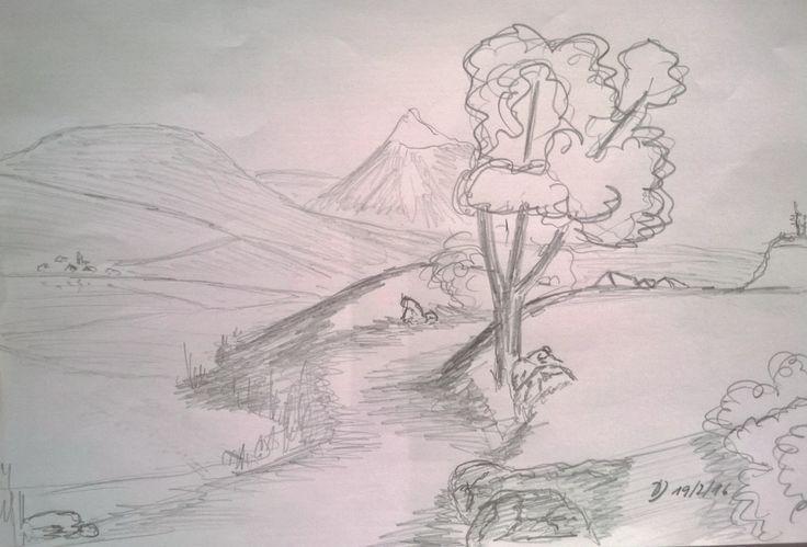 Skizze mit Bleistift auf A4-Papier. Sie zeigt einen ausgetretenen Wanderweg am Seeufer.  Bisher noch nicht umgesetzt