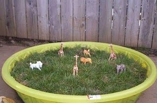 It doesn't have to be fancy. And, you don't have to have a big yard. Love this idea for recycling a small plastic pool! Plant a little grass and it's excellent for a little dramatic/sensory play!