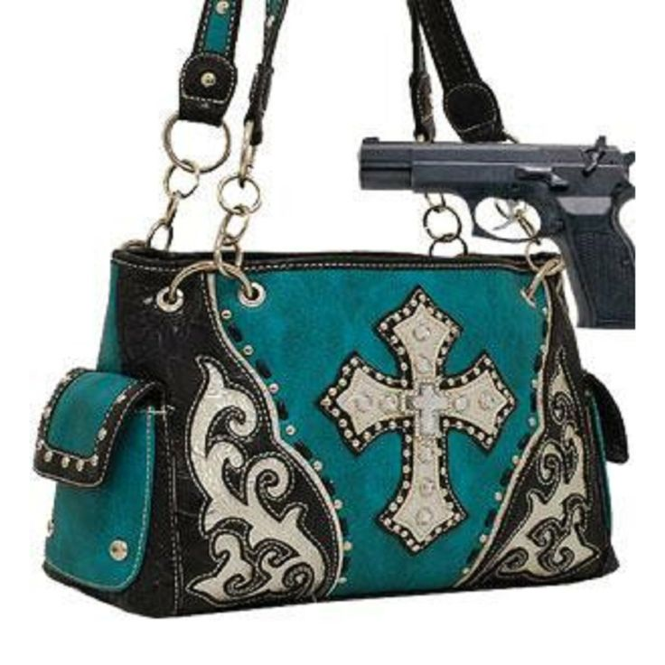 Handbags Bling More Turquoise Studded Cross Conceal And Carry Purse