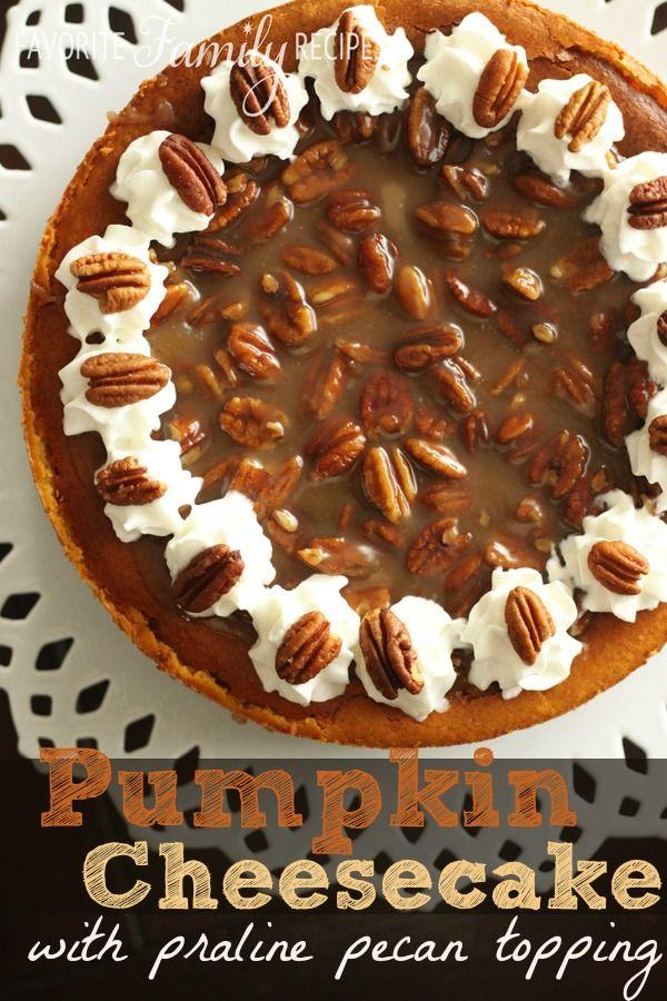 Pumpkin Cheesecake with Praline Pecan Topping