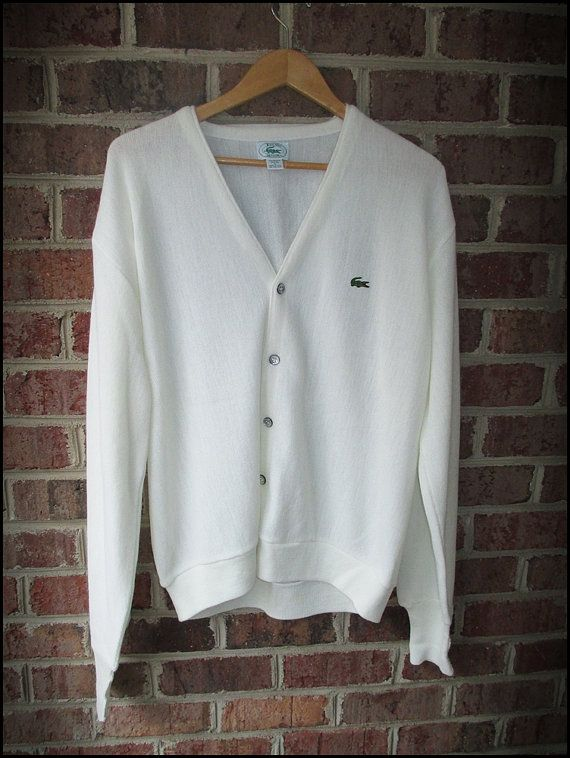 70's White Izod LaCoste Men's Cardigan Sweater by CharchaicVintage, $25.00