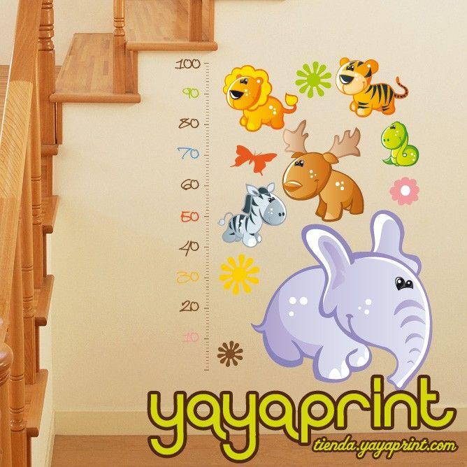 Medidor 05 vinilo decorativo pared elefante alce tigre - Medidor de habitaciones ...