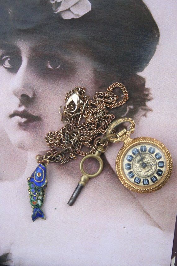 Pocket watch vintage necklace Steampunk jewelry Assemblage