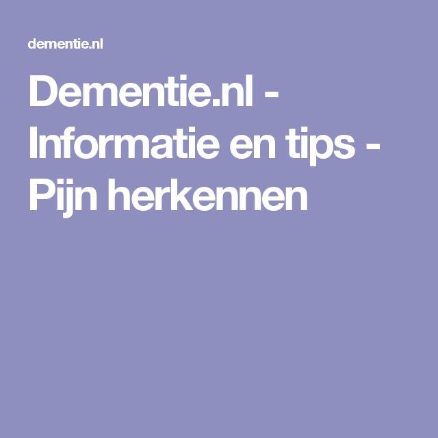 Dementie.nl - Informatie en tips - Pijn herkennen