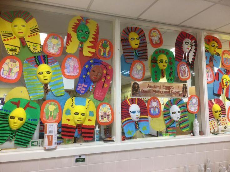 Wonderful display of Egyptian Death Masks!