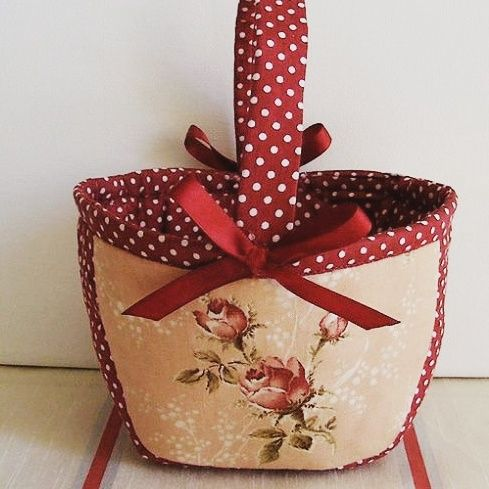 Rózsás kosárka – piros | Judit Kreatív - Kreatív hobbi | decoupage | textil festés | szalvéta technika
