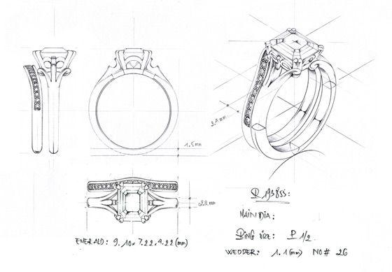Anillo de diamante de la vendimia (boceto)