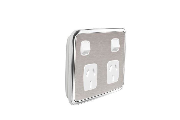 Gooden-Double-Powerpoint-Cover-switch-Brushed-Stainless-Steel-122BS | Gooden Industries