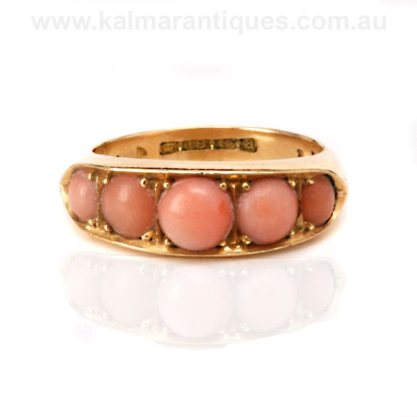 Created in the 1890's an elegant natural coral ring in 18ct gold | Priced at $2,850 | www.kalmarantiques.com.au