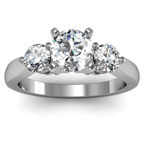 Beautiful  Wholesale Rings Round Diamond Three Stone Ring Set in k White Gold