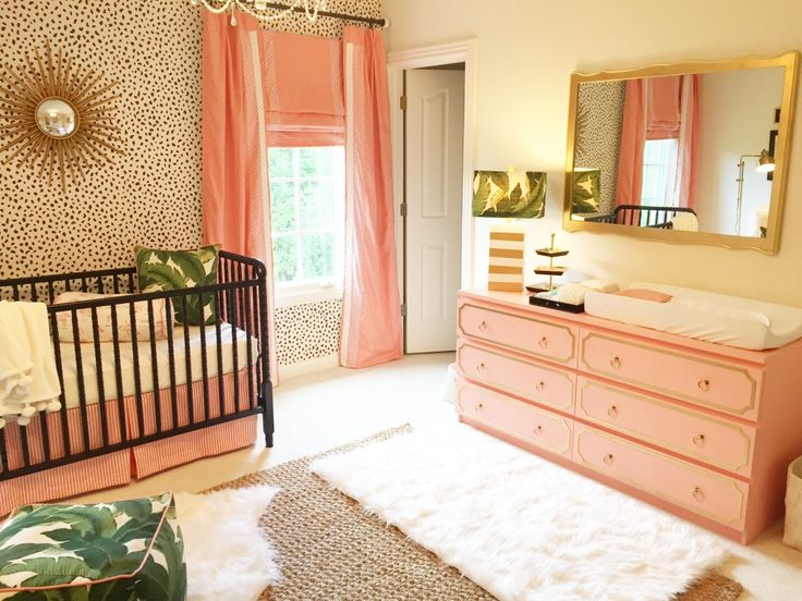 Recreate this accent wall using the Leopard Skin allover Stencil from Cutting Edge Stencils for this Palm Beach Inspired Nursery http://www.cuttingedgestencils.com/leopard-pattern-animal-skin-stencil.html