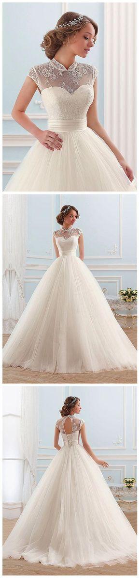 Glamorous Tulle High Collar Neckline Ball Gown Wedding Dress  #vestidodenovia | #trajesdenovio | vestidos de novia para gorditas | vestidos de novia cortos  http://amzn.to/29aGZWo