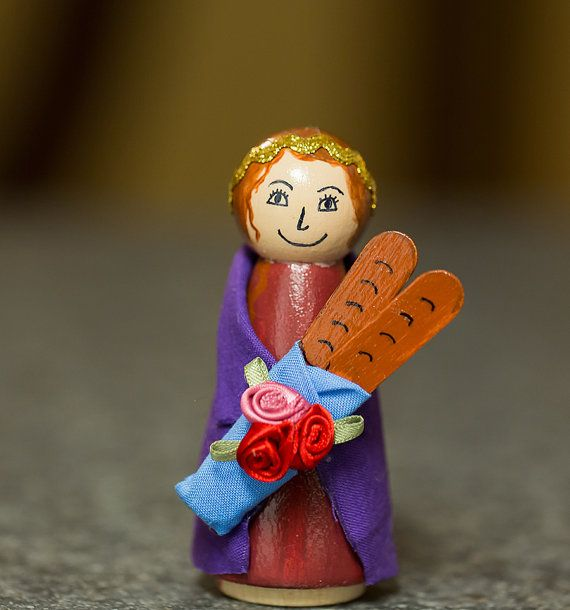 St. Elizabeth of Hungary Peg Doll by PlayingWithGrace on Etsy