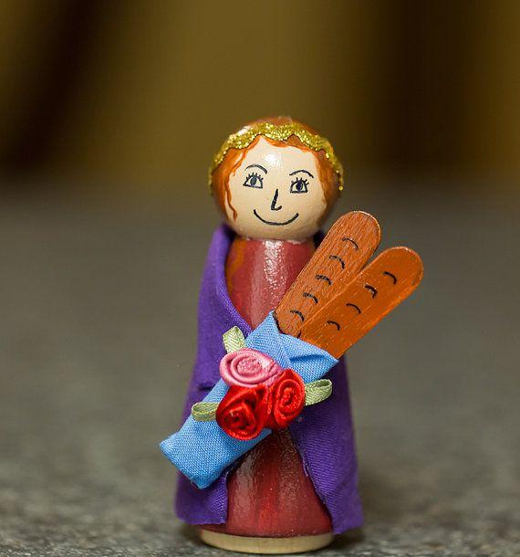 St. Elizabeth of Hungary Peg Doll by PlayingWithGrace on Etsy